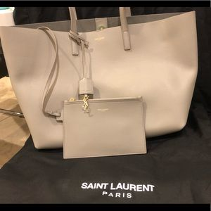 YSL Yves Saint Laurent leather shopping tote